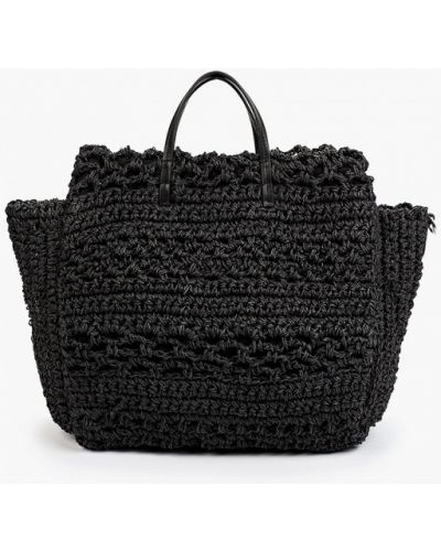 Черная соломенная сумка Mango