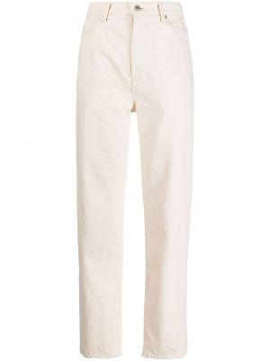 Beżowe jeansy z wysokim stanem bawełniane Jil Sander