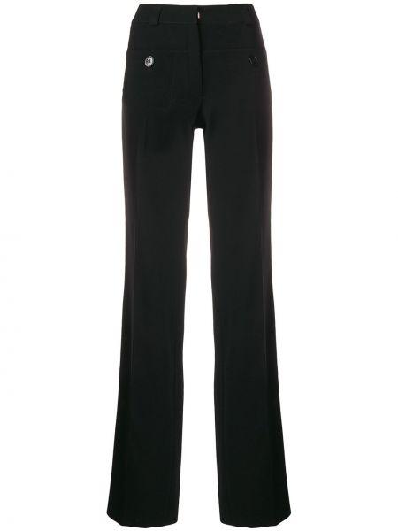Czarne spodnie w paski z jedwabiu Carven