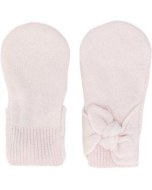 Prążkowane różowe z kaszmiru rękawiczki Baby Dior