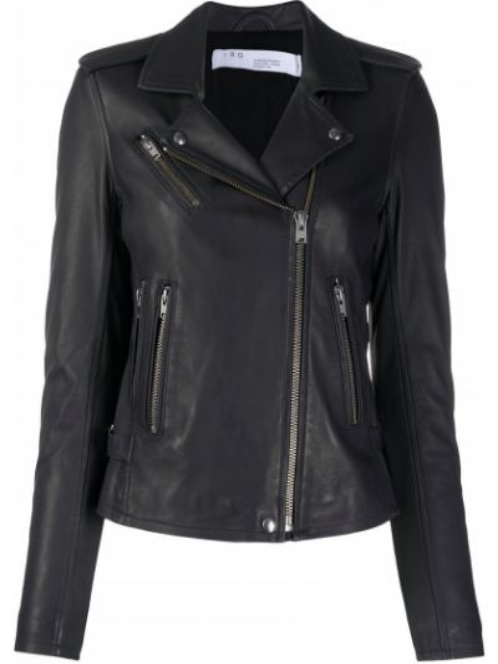 Прямая черная куртка на молнии с воротником Iro