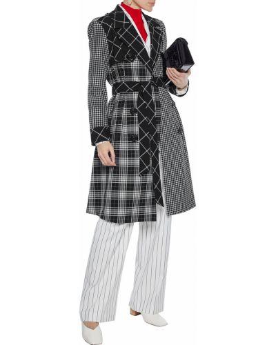 Czarny płaszcz dwurzędowy z akrylu Alice + Olivia