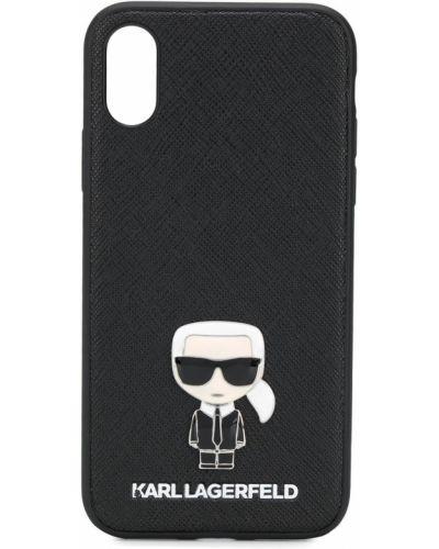 Черный кожаный футляр для очков Karl Lagerfeld