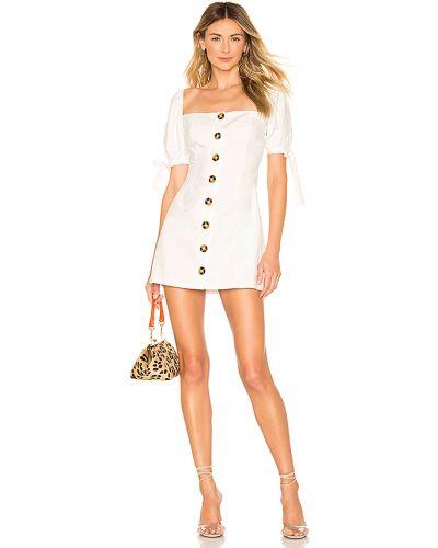 Z rękawami biały bielizna bawełna sukienka z rękawem Superdown