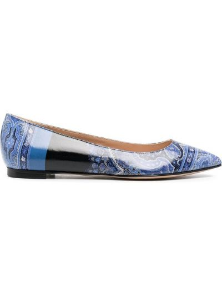 Брендовые кожаные синие туфли Etro