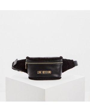 Кожаная сумка поясная черная Love Moschino