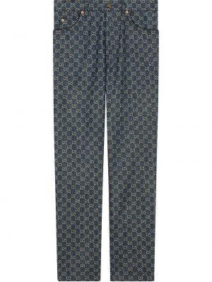 Хлопковые прямые синие укороченные брюки Gucci