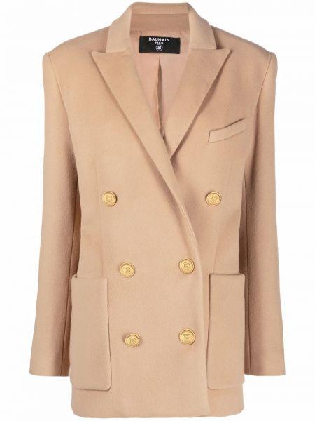 Пальто короткое золотое Balmain