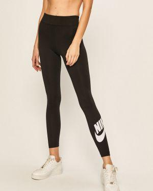 Czarne legginsy bawełniane z printem Nike Sportswear