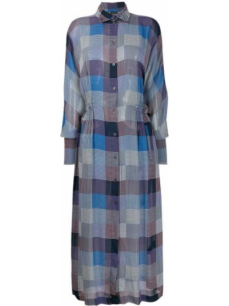 Серебряное приталенное классическое платье макси с воротником Frenken