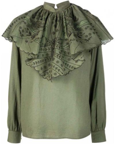 Зеленая блузка с вышивкой Etro