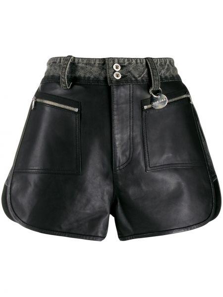 Джинсовые шорты черные с карманами Diesel