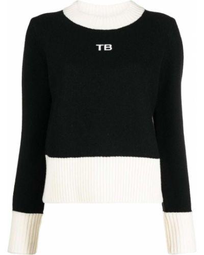 Wełniany czarny sweter z okrągłym dekoltem okrągły Tory Burch
