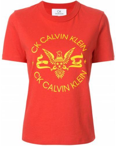 Хлопковая футболка - красная Ck Calvin Klein