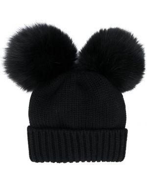 Prążkowana czarna czapka wełniana Woolrich Kids