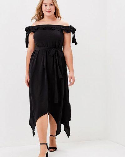 Платье миди осеннее черное Lost Ink Plus