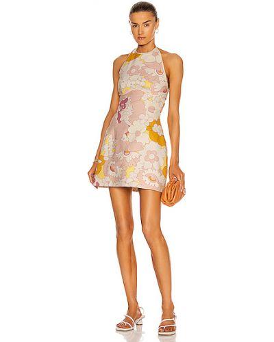 Różowa sukienka mini w kwiaty bawełniana Marianna Senchina