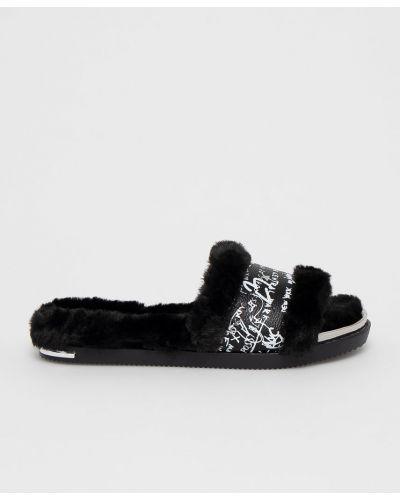 Czarne sandały na obcasie skorzane Dkny