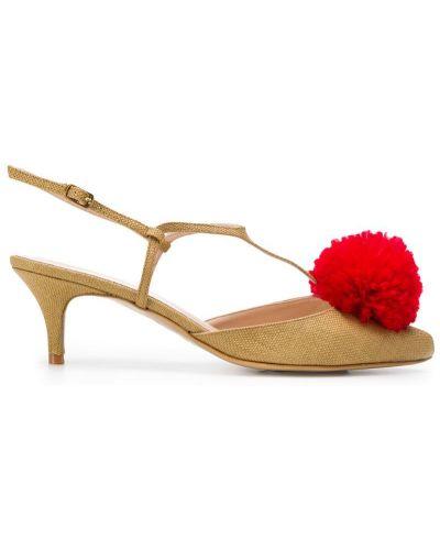 Бежевые туфли-лодочки с пряжкой на каблуке Lenora