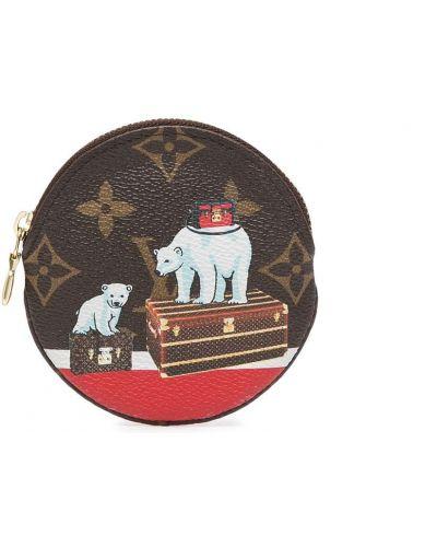 Коричневый кожаный портмоне на молнии Louis Vuitton