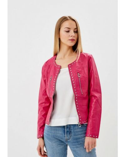 Кожаная куртка весенняя розовая Laura Jo
