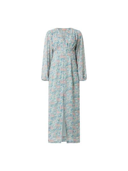 Niebieska sukienka długa rozkloszowana z długimi rękawami Freebird