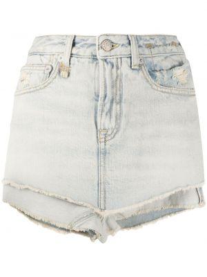 Джинсовые шорты с завышенной талией - синие R13
