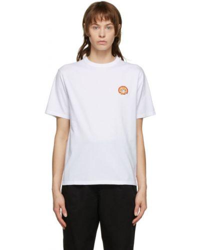 Хлопковая белая рубашка с воротником с заплатками Maison Kitsuné