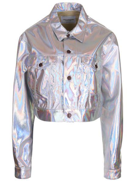 Серебряная куртка с манжетами с воротником на пуговицах Forte Couture