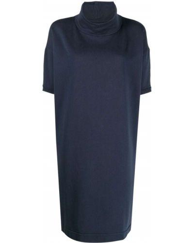 Прямое трикотажное синее платье-рубашка Kristensen Du Nord