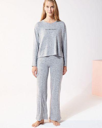 Szara piżama z długimi rękawami z wiskozy Etam