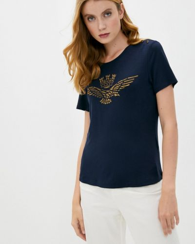 Синяя с рукавами футболка Aeronautica Militare