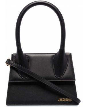 Черная кожаная сумка-тоут круглая Jacquemus