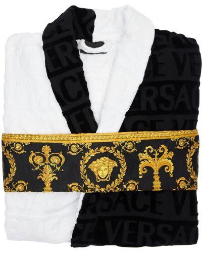 Biały szlafrok bawełniany z paskiem Versace