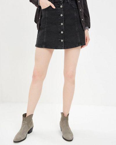 Джинсовая юбка весенняя черный Mango