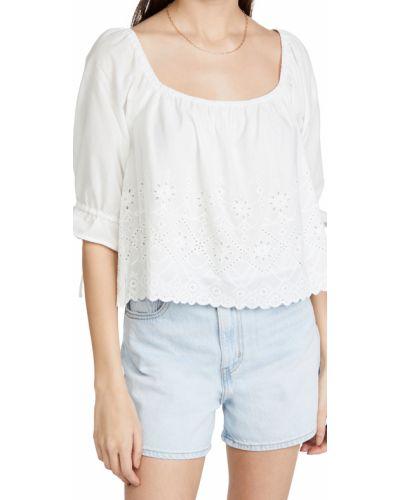 Хлопковая белая блузка на резинке Minkpink