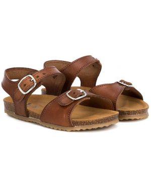 С ремешком открытые кожаные желтые сандалии Pépé Kids