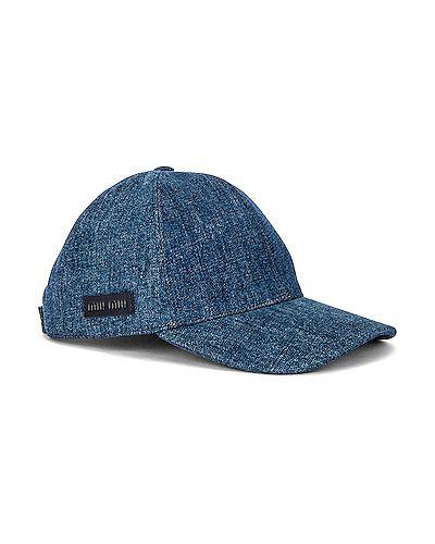 Синяя кожаная шапка на липучках Miu Miu