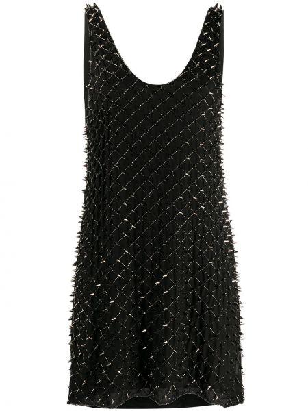 Платье мини с бисером черное Balmain