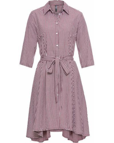 Платье с поясом с рукавами в клетку Bonprix
