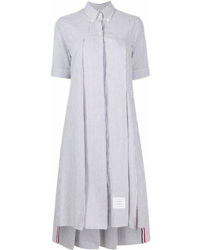 Niebieska sukienka mini krótki rękaw bawełniana Thom Browne