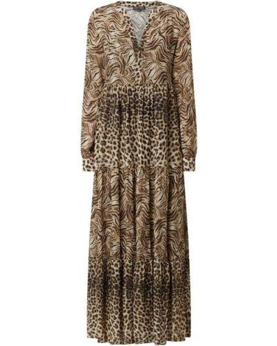 Brązowa sukienka długa z falbanami Risy & Jerfs