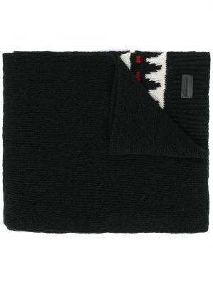 Prążkowany czarny szalik wełniany Saint Laurent