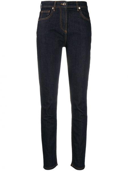 Синие с завышенной талией джинсы с высокой посадкой стрейч с заплатками Blumarine