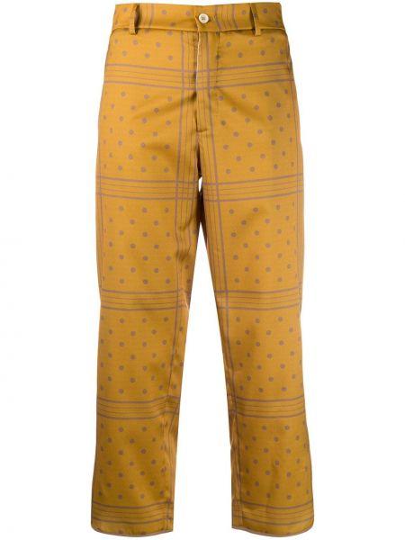 Хлопковые прямые желтые укороченные брюки на крючках Jejia