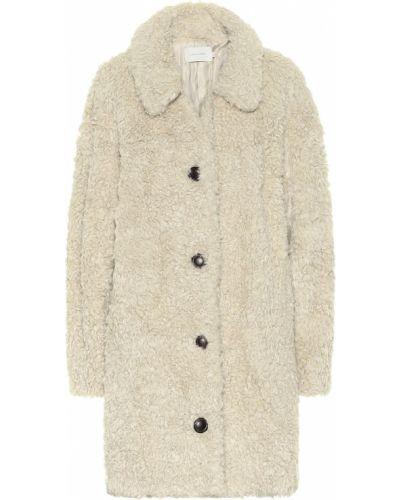 Акриловое теплое белое пальто классическое Low Classic