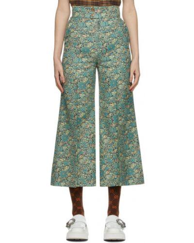 Niebieski jedwab spodnie z fałdami bezpłatne cięcie Gucci