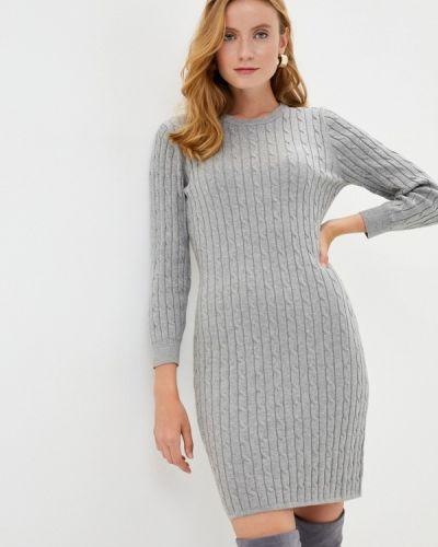 Серое вязаное платье Gant