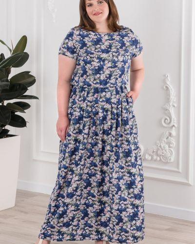 Короткое большое приталенное платье из штапеля Sharlize