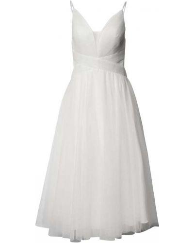 Biała sukienka midi z dekoltem w serek Mascara